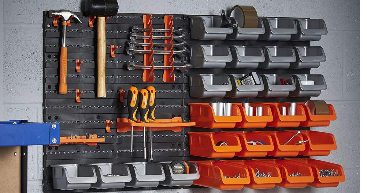 44-piece wall mounted garage organizer