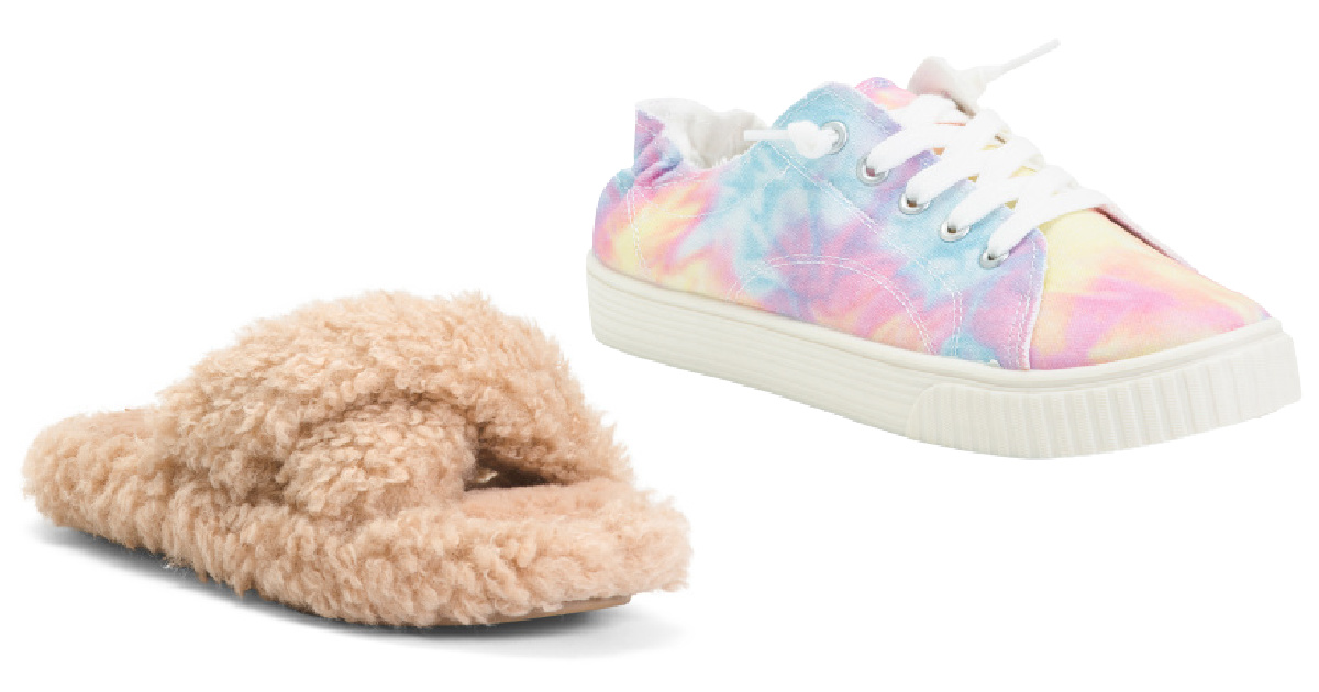 x band slippers and tie dye slip ons
