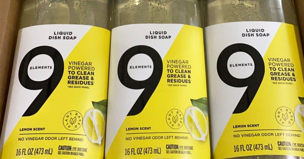 three bottles of 9 elements dish soap