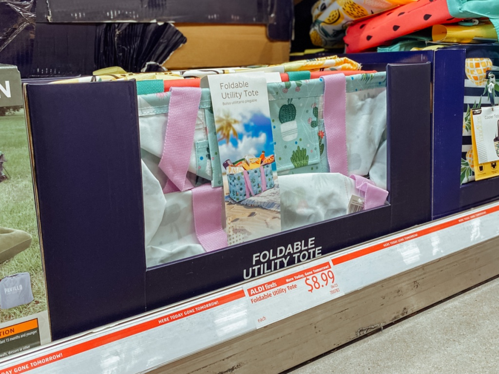 foldable utility tote on display in-store