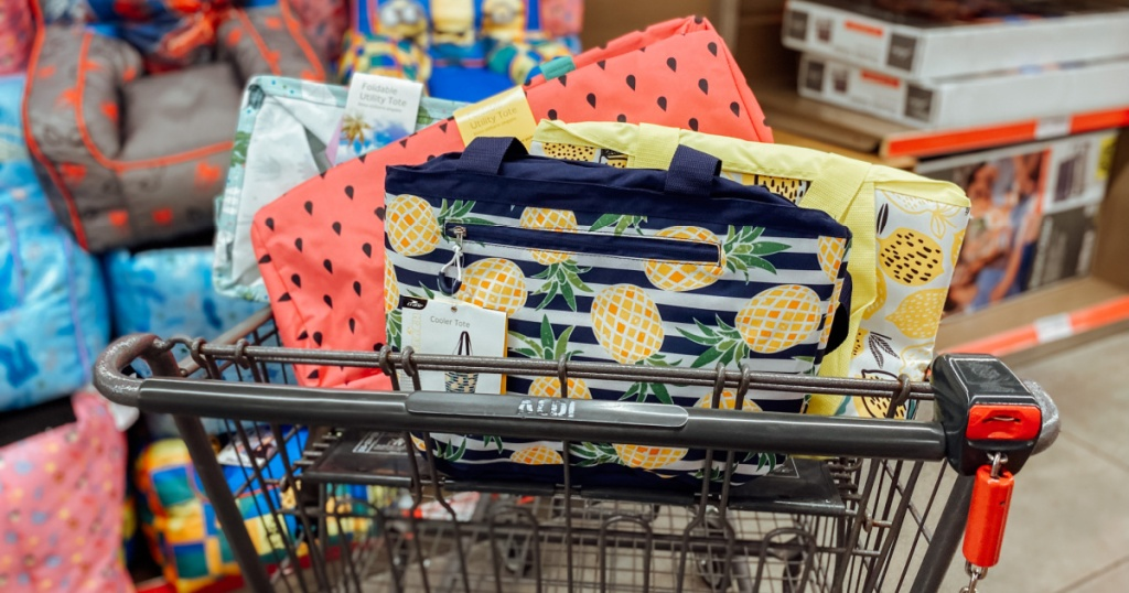 ALDI cart of utility tote and coolers