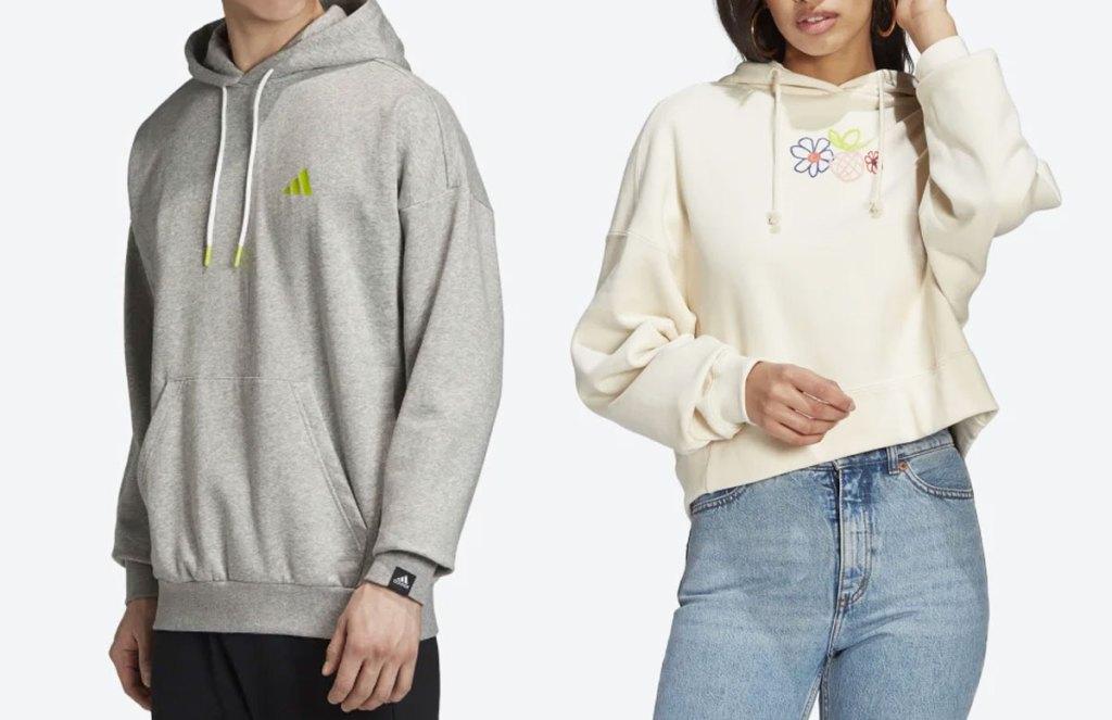 teen boy and girl in adidas hoodies