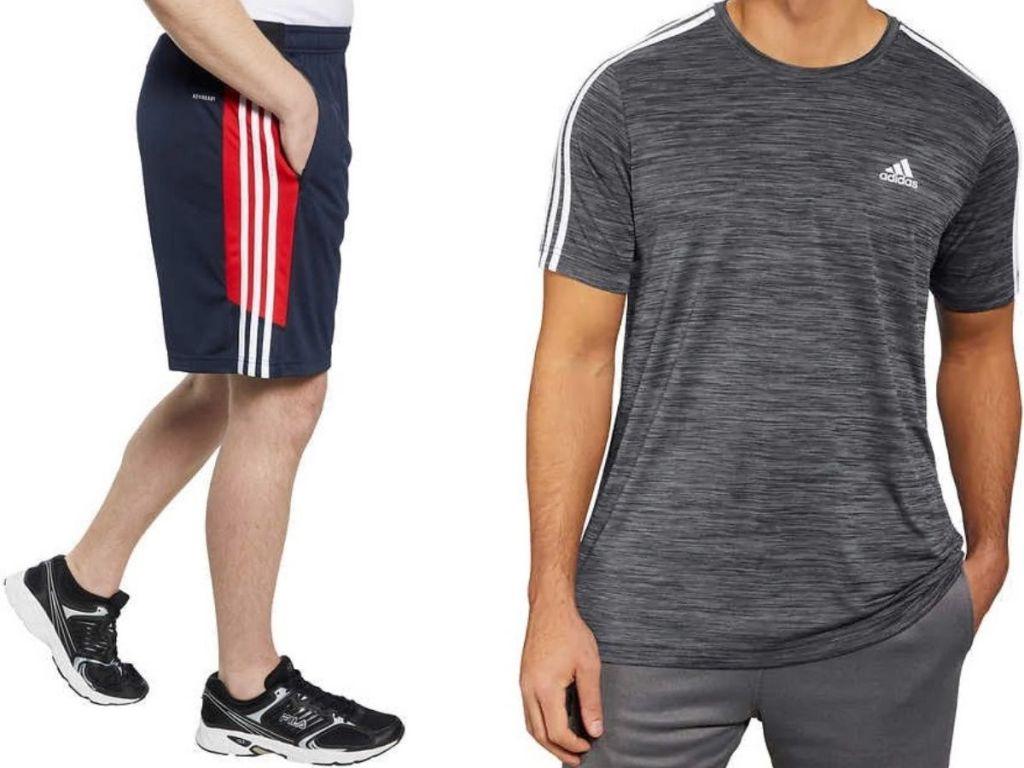 two men wearing adidas shorts and an adidas shirt
