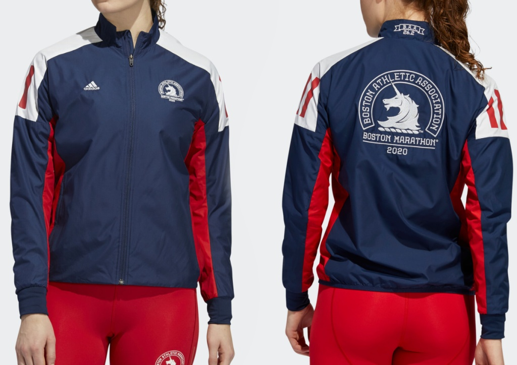 front and back view of woman in athletic jacket