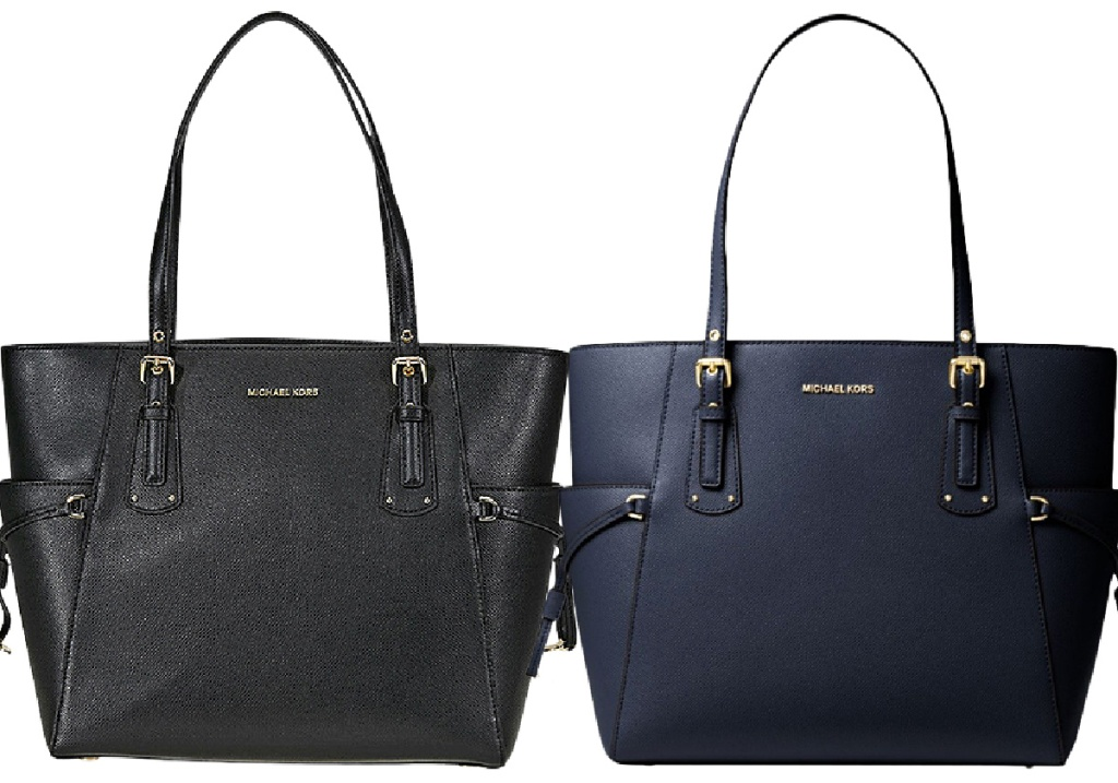 Admiral Small Leather Voyager Tote Michael Kors black and blue