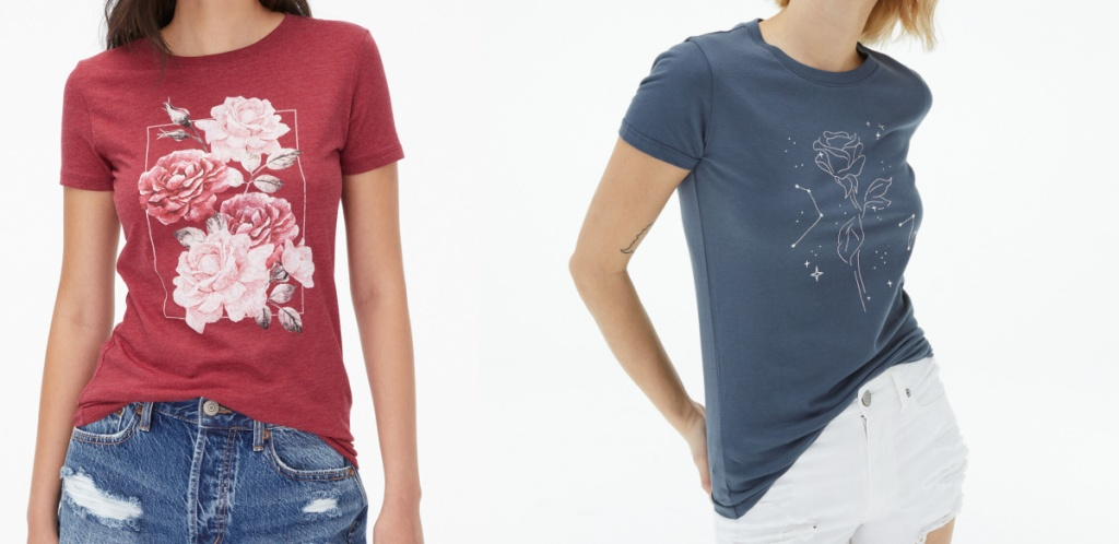 two girls wearing graphic tees