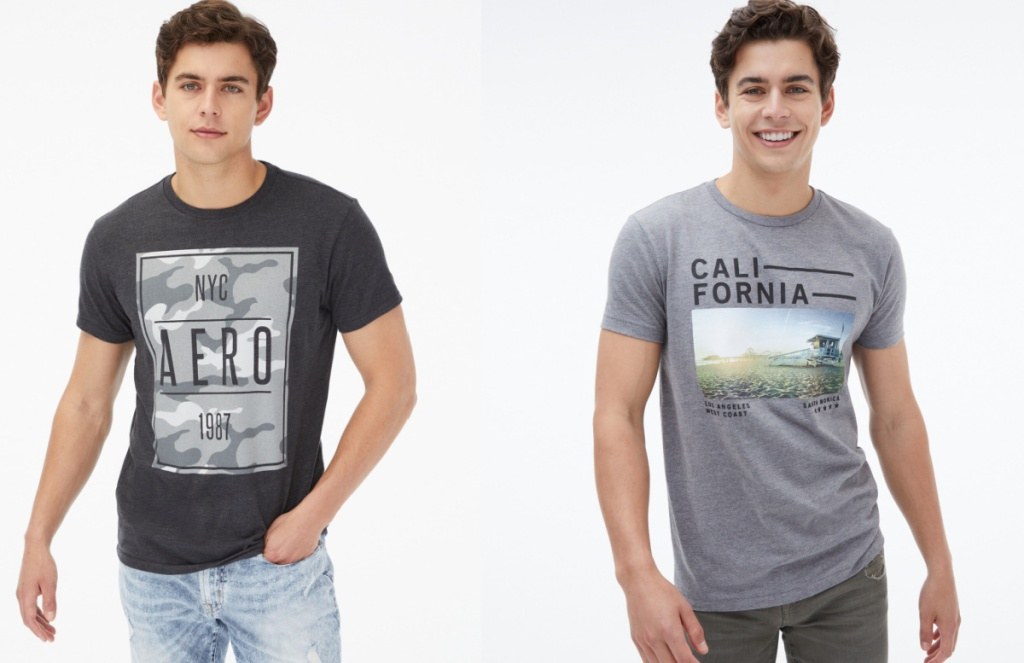 two guys wearing graphic tees