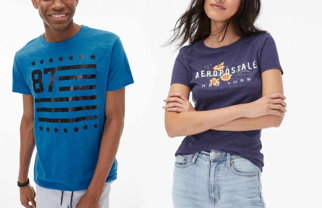 two teens wearing Aeropostale graphic tees