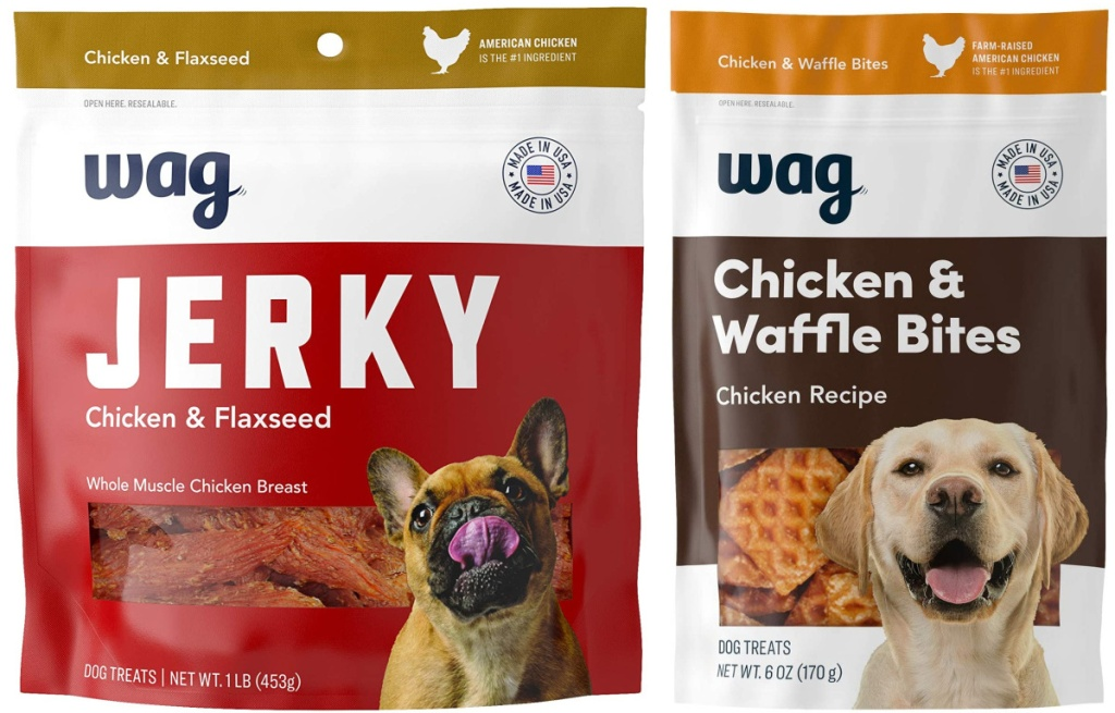 2 packages of amazon wag brand dog treats