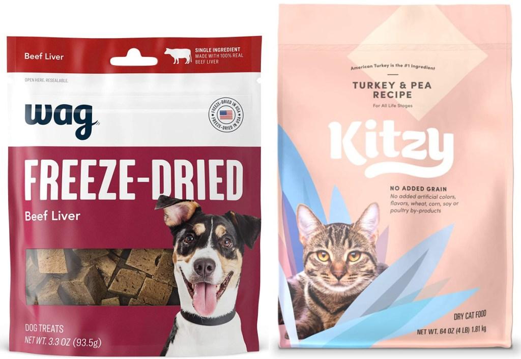 amazon wag freeze dried dog treat and kitzy cat food