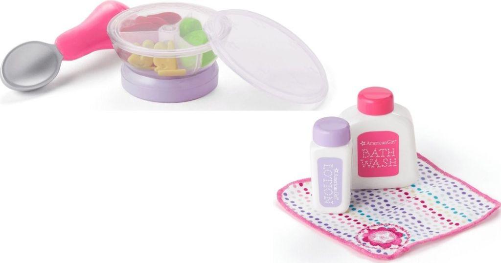American Girl Baby food and bath items