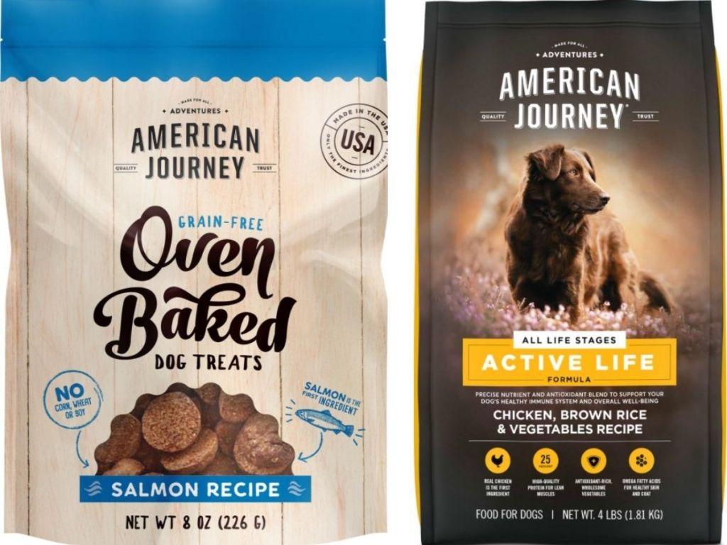 american journey dog treats and dry dog food bag