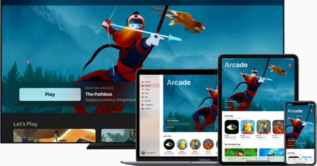 Apple Arcade on TV, laptop, tablet and iphone