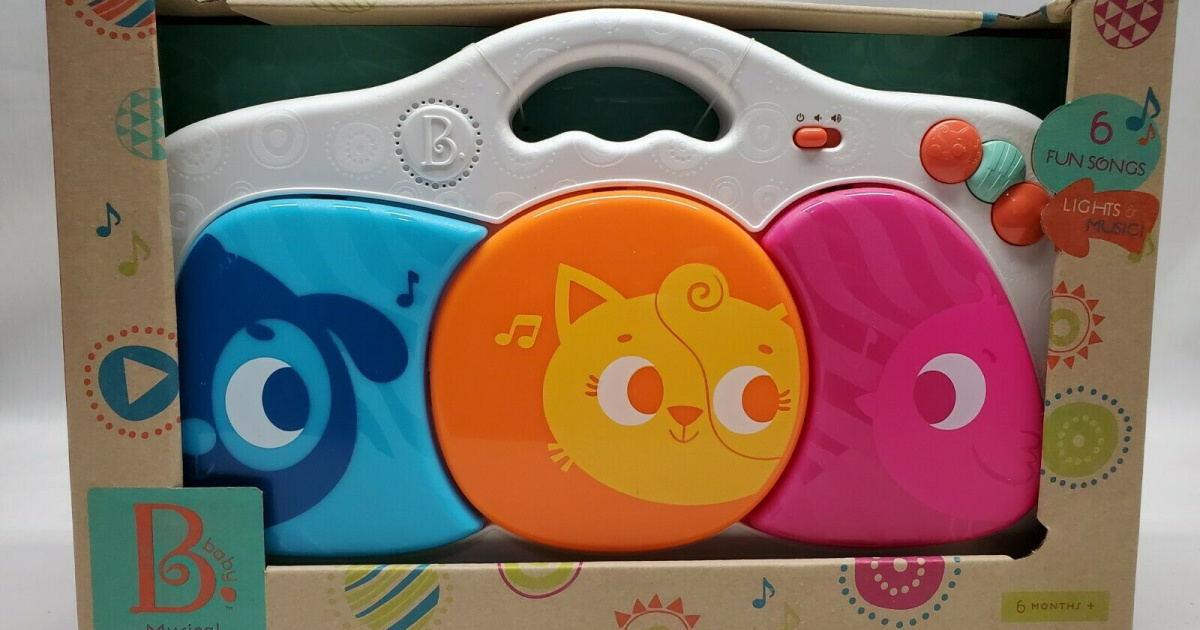 colorful musical keypad for babies with three large keys printed with animals