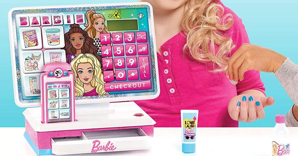Barbie themed toy cash register