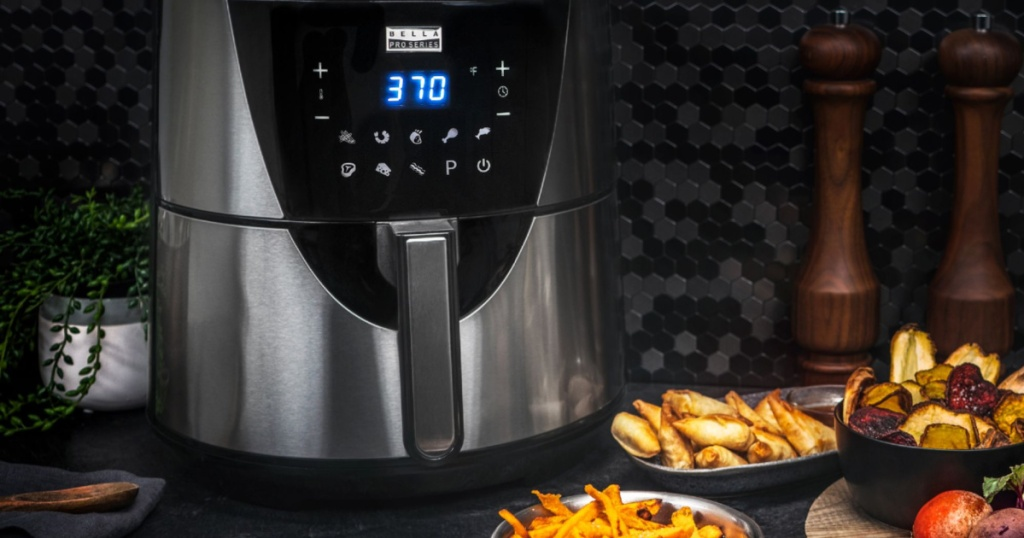 bella touch screen air fryer with food around it