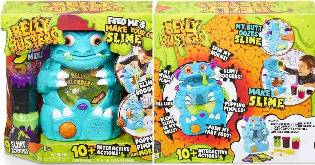 front and back of the Belly Busters Toy box
