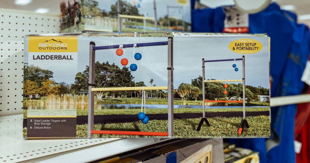 ladderball set on shelf