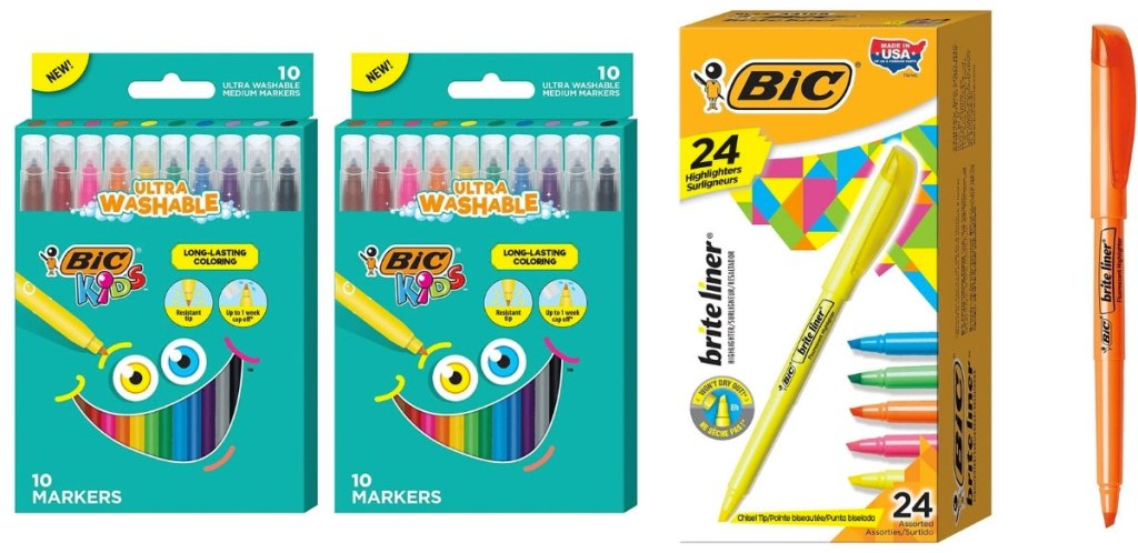 bic markers and highlighters in packaging