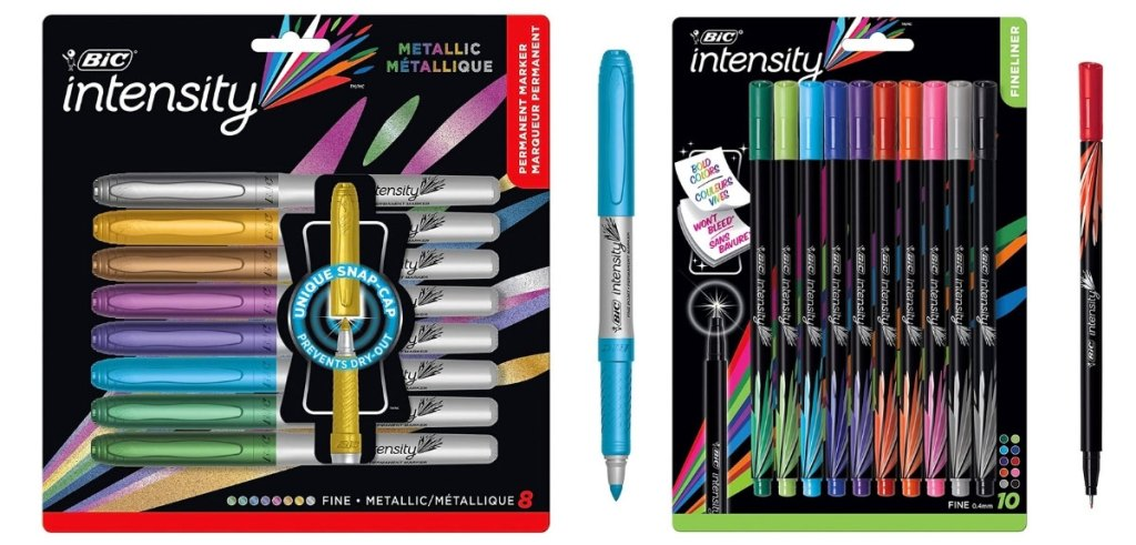 bic markers and pens in packaging