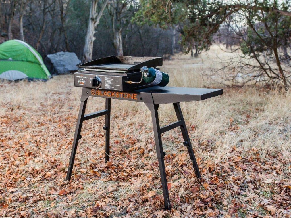 blackstone flat top grill in woods