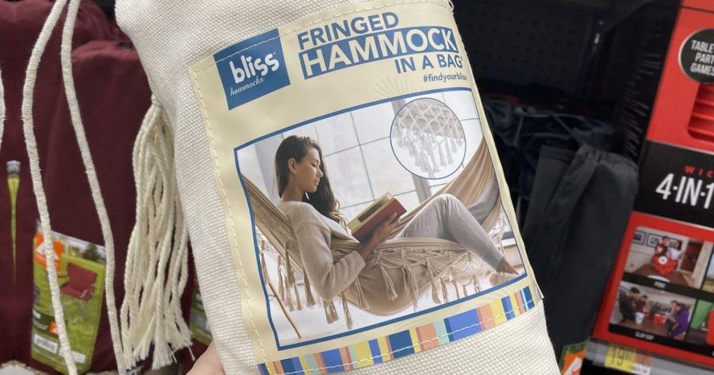 Bliss fringed hammock in a bag