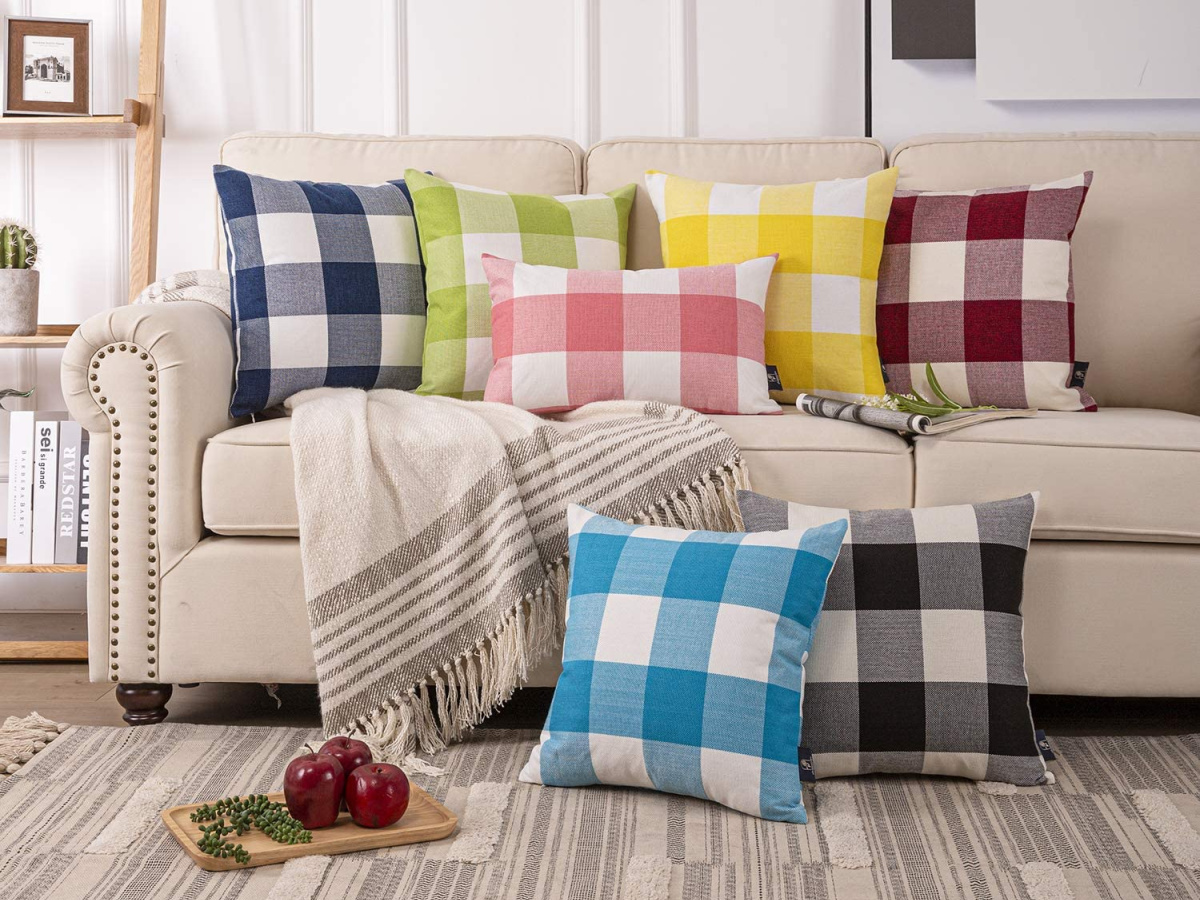 buffalo check pillows on couch in living room