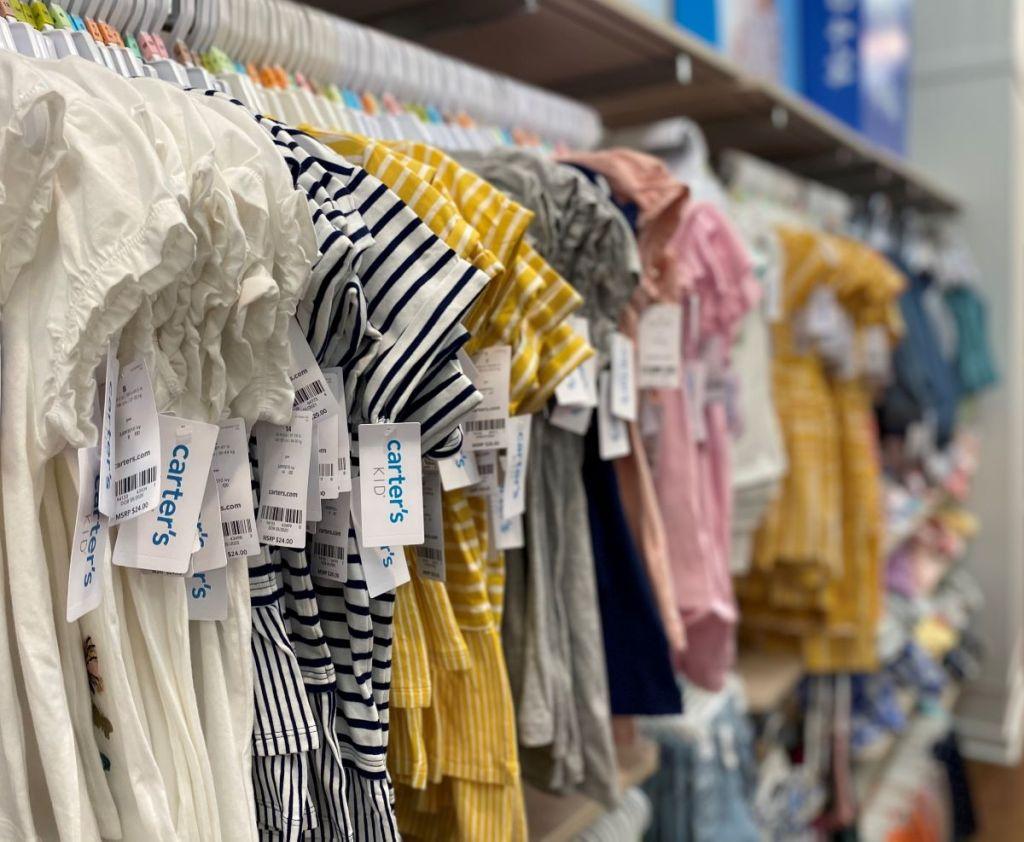 Carter's kids shirts on hangers