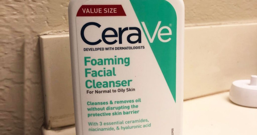 bottle of cerave cleanser on bathroom counter