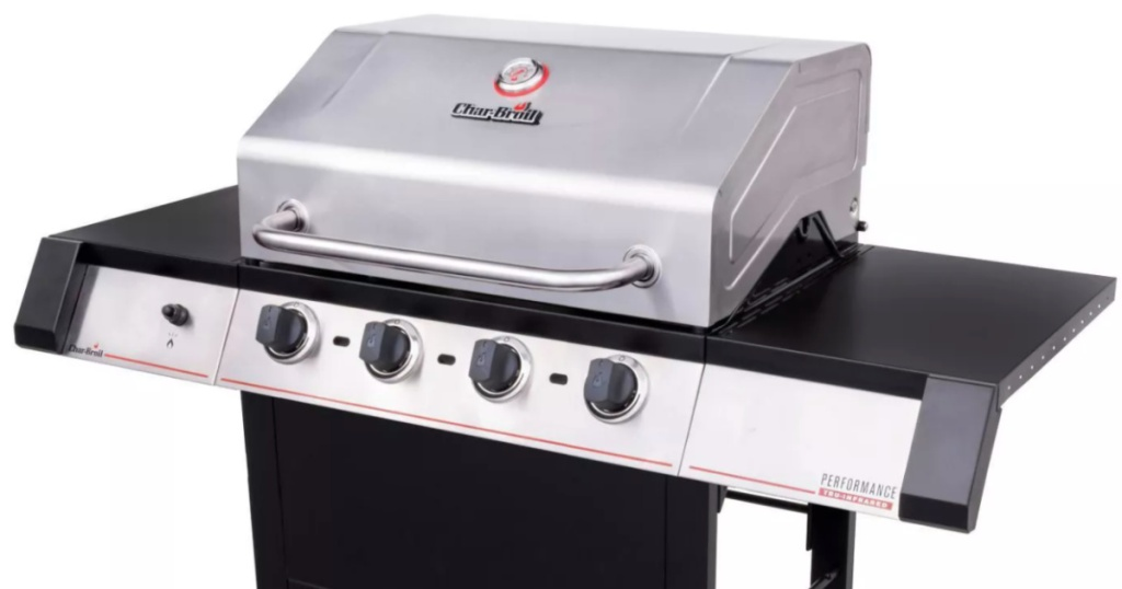 stainless steel and black grill