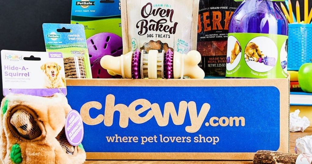 Chewy.com box and pet supplies