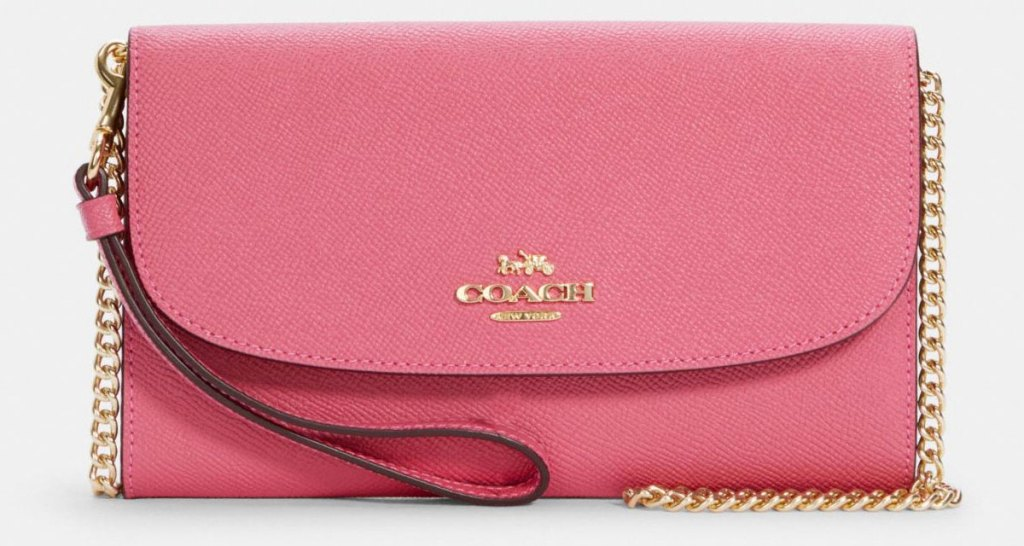 pink coach clutch crossbody bag