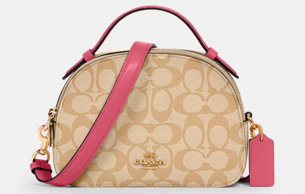 coach bag with pink accents