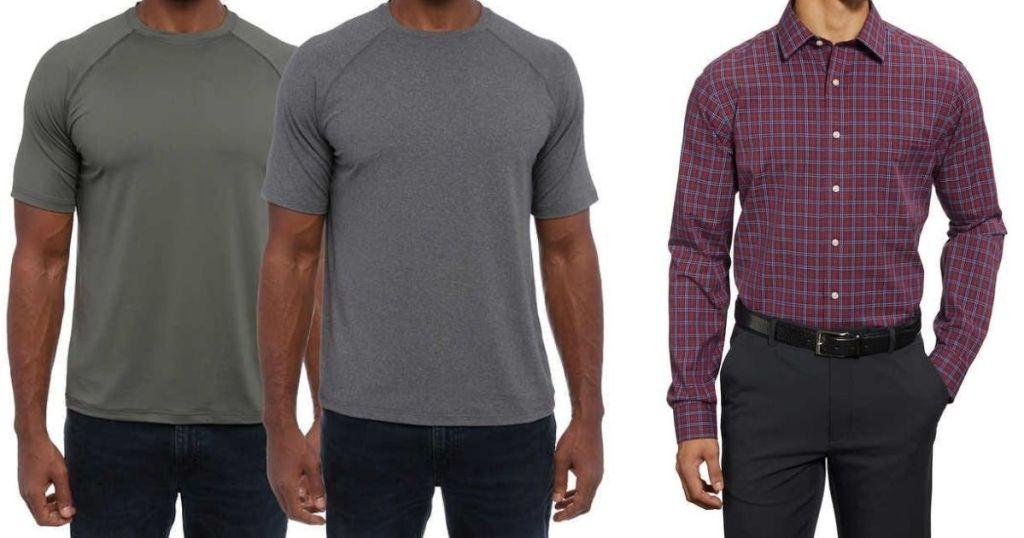 three men wearing shirts