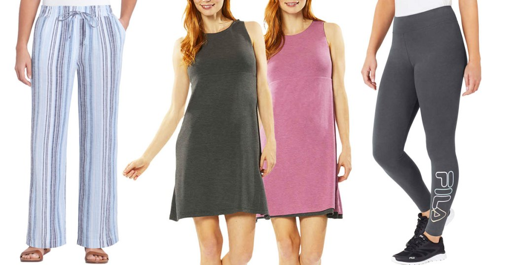 women's linen pants, reversible dresses, and fila leggings