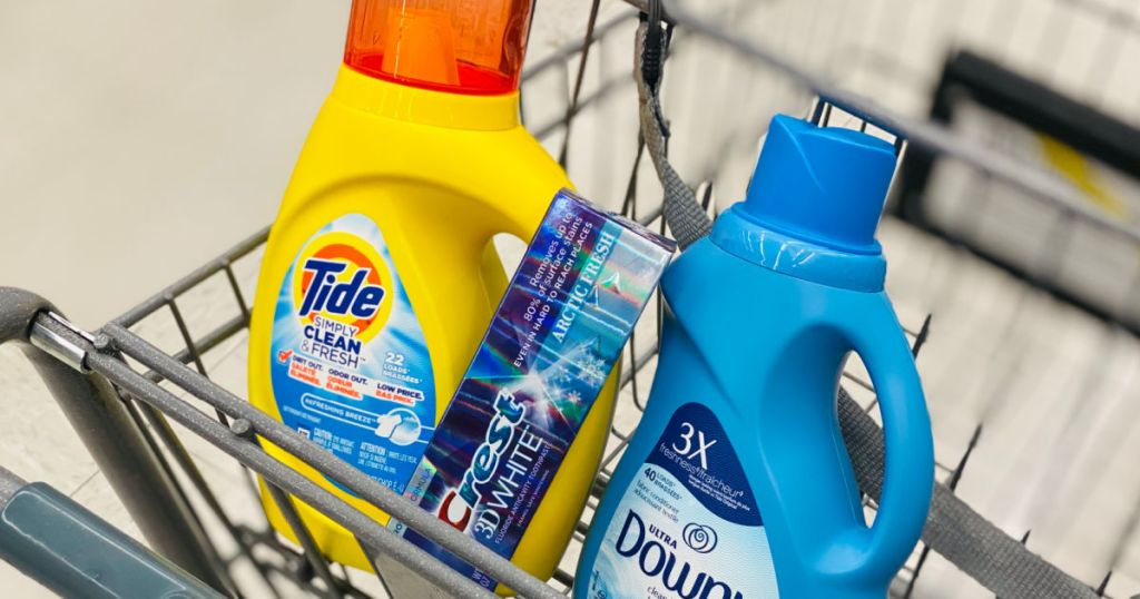 toothpaste and laundry items in basket