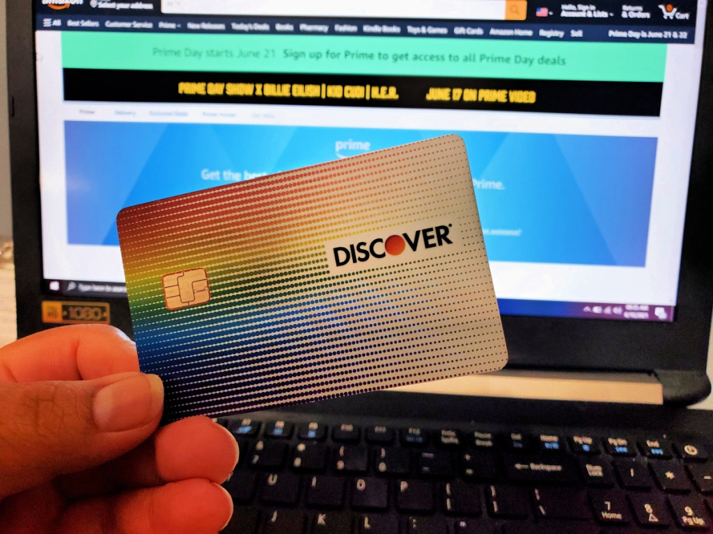 Discover card in front of laptop