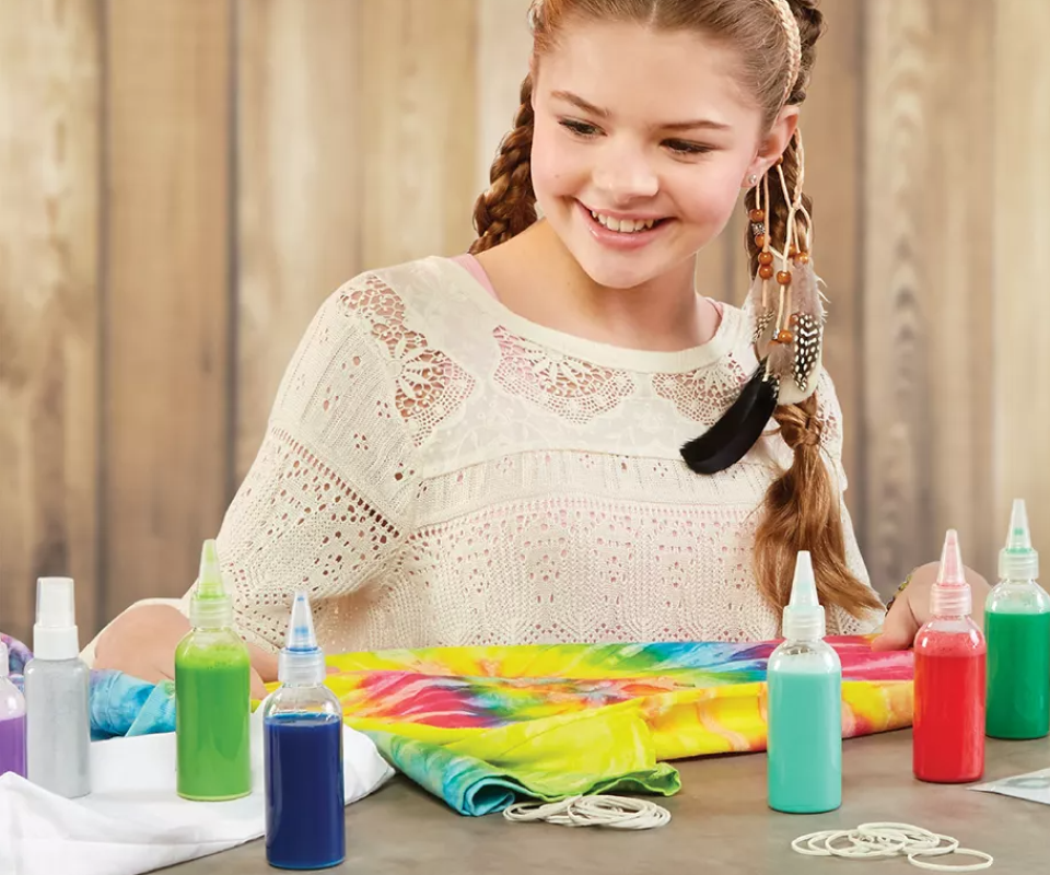 girl with a tie-dye kit