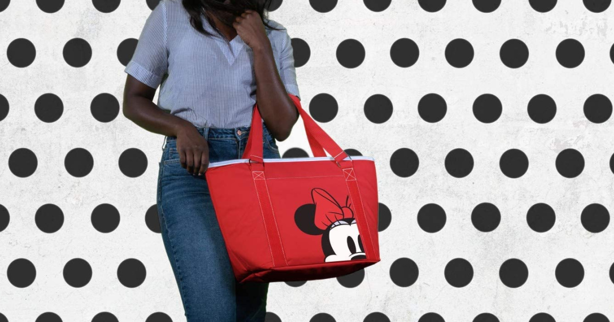 Woman holding a Minnie Mouse themed cooler