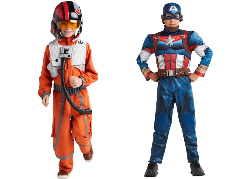 star wars poe costume and captain america costume for kids