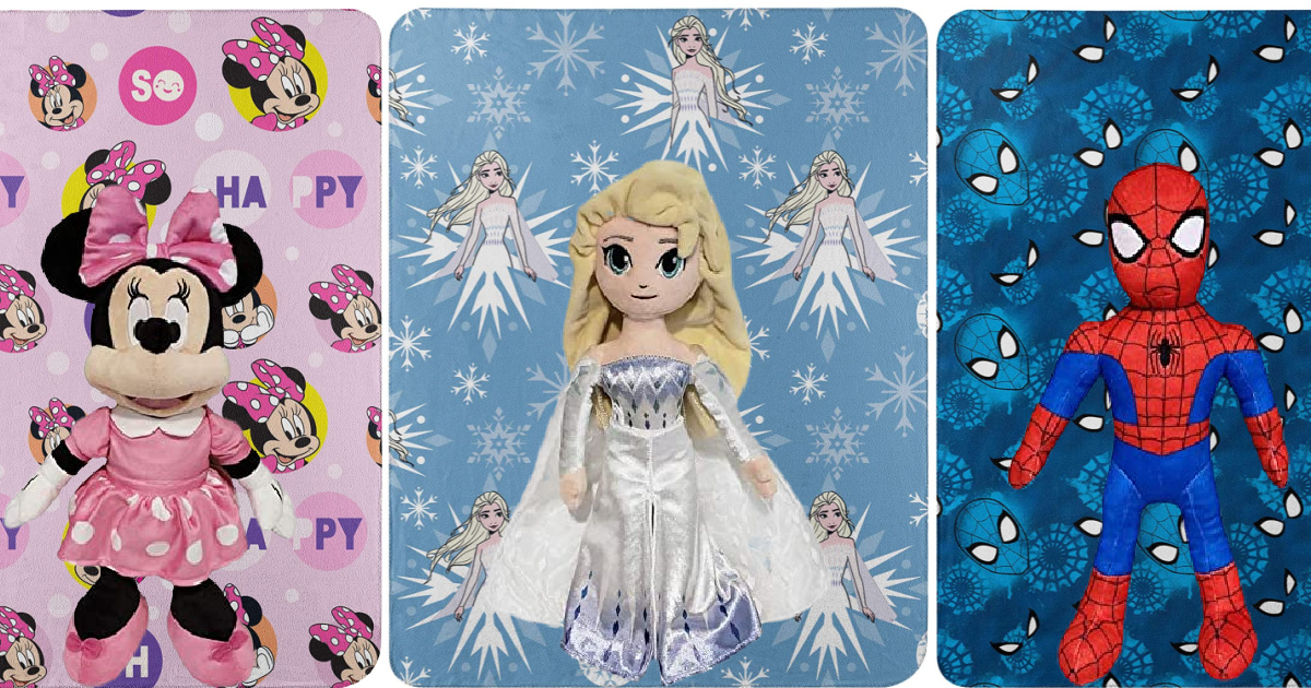 three stock images of kids character blankets disney and marvel