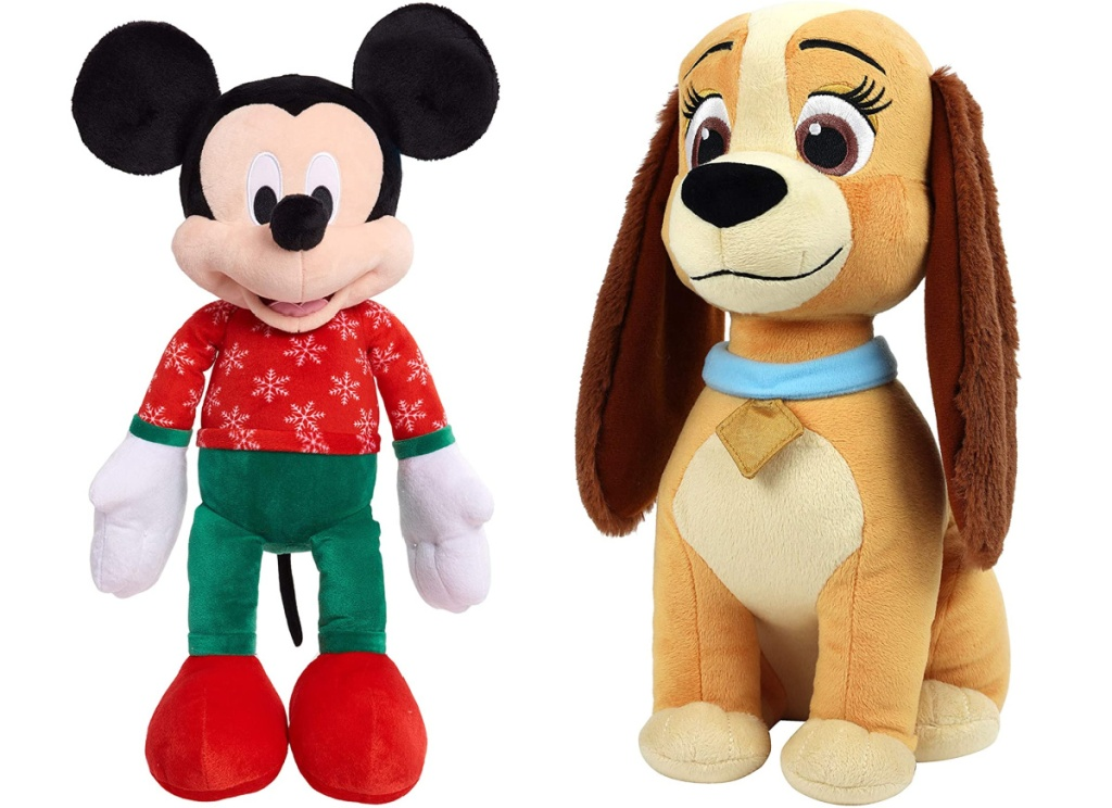 plush mickey mouse and plush lady