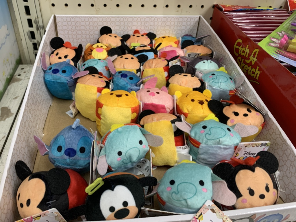 large in-store display of small Disney plush