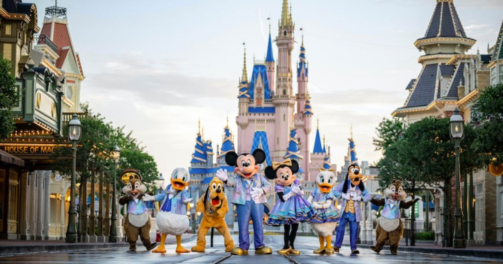 Characters in front of castle at Walt Disney World