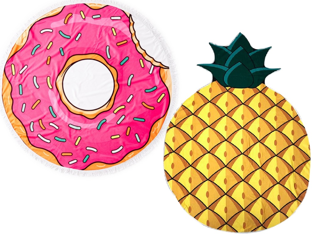 Donut and pineapple beach towels