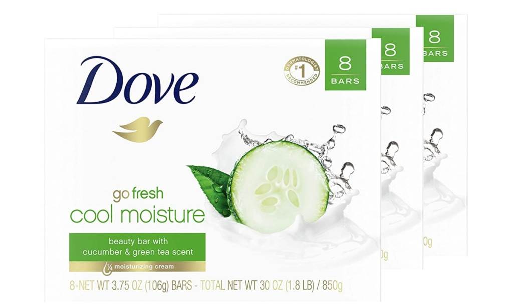 large triple package of Dove Beauty Bar Green Tea scent