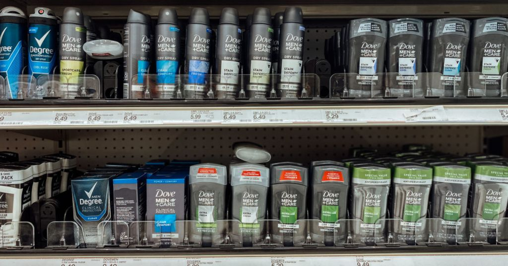 grey bottles of men's personal care products