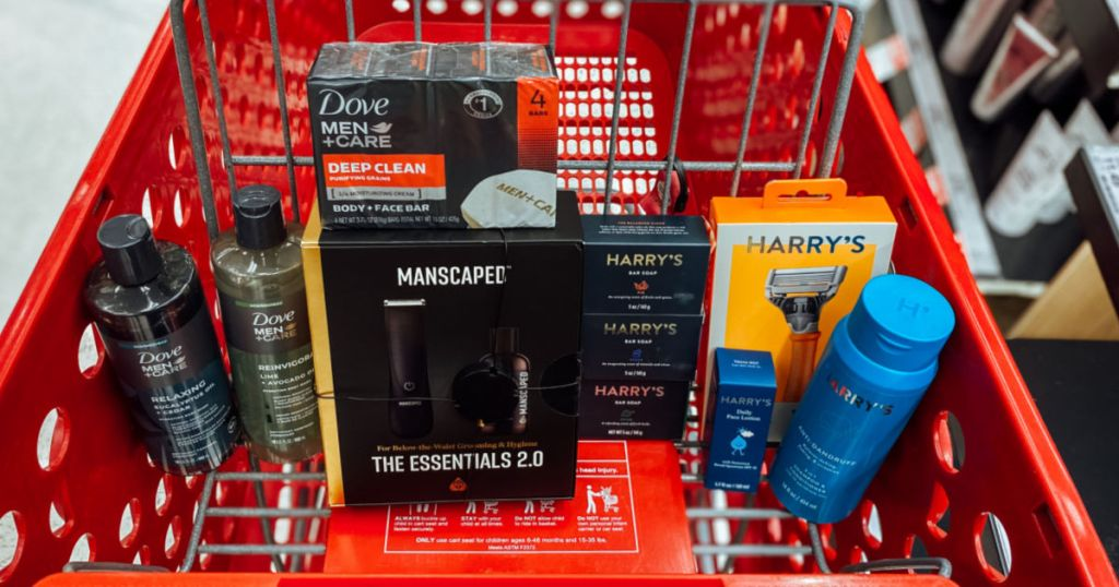 men's shave products in red basket