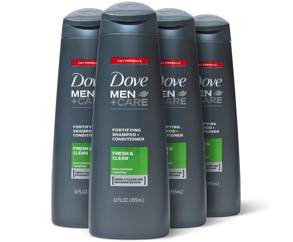 four bottles of men's shampoo