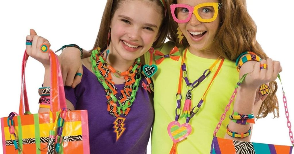 two girls wearing duct tape jewelry and crafts